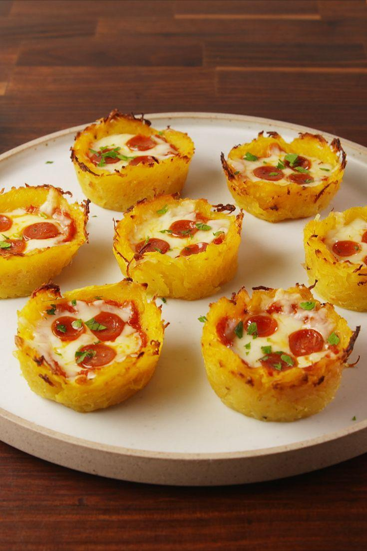 "<p>A low carb pizza bite!</p><p>Get the recipe from <a href=""https://www.delish.com/cooking/recipe-ideas/recipes/a56113/spaghetti-squash-pizza-nests-recipe/"" rel=""nofollow noopener"" target=""_blank"" data-ylk=""slk:Delish"" class=""link rapid-noclick-resp"">Delish</a>. </p>"