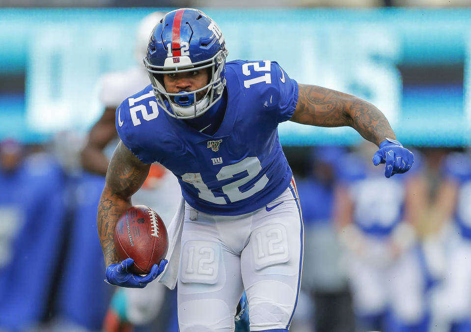 FILE - In this Dec. 15, 2019, file photo, then New York Giants wide receiver Cody Latimer (12) runs in the second half of an NFL football game in East Rutherford, N.J. Latimer is facing five charges, including felony illegal discharge of a firearm, following his arrest in a Denver suburb Saturday morning, May 16, 2020. The Douglas County sheriff's office says deputies arrested 27-year-old Cody Latimer after responding to a report just after midnight of shots fired inside an apartment in Englewood, Colo. (AP Photo/Adam Hunger, File)