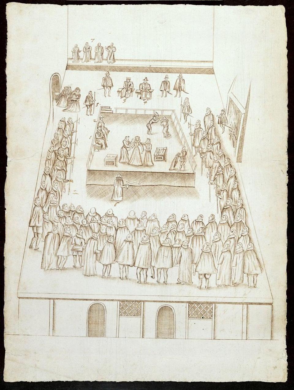 Ink and pencil drawing of the execution of Mary, Queen of Scots (British Library)