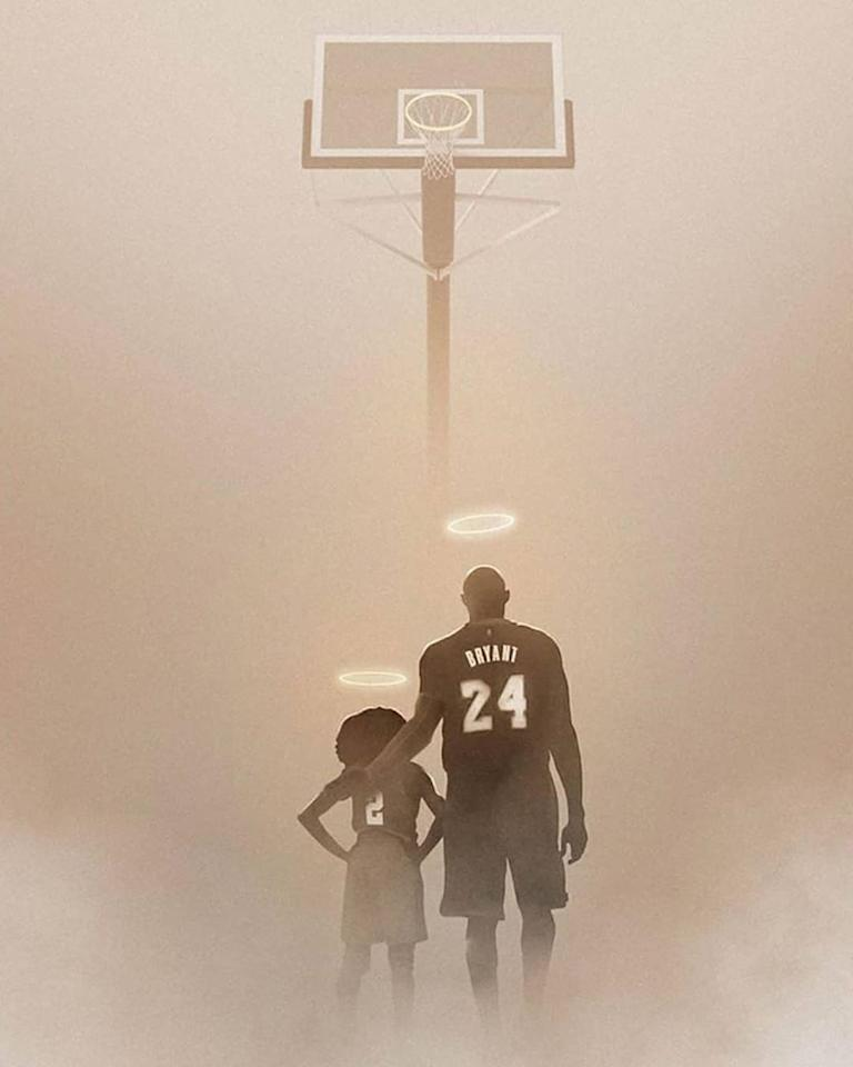 Kobe and Gianna Bryant seen with halos above their heads as they stare up to their shared love. (Credit: thecontaineryard/Instagram)