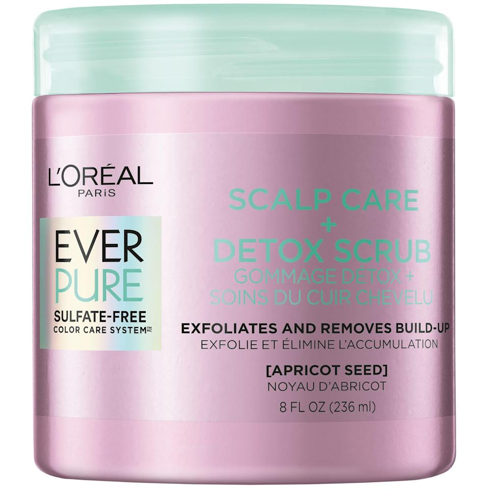 "<h2>L'Oreal Paris EverPure Sulfate Free Scalp Care + Detox Scrub</h2><br>A good scalp scrub can mean the difference between washing your hair as a chore and caring for your hair like a spa-like experience. This one, which falls into the latter category, will not only help you feel more relaxed, but it'll help lift product buildup from your scalp without leaving it dry and flaky. You can thank the detoxifying blend of apricot seed and menthol for that. <br><br><strong>L'Oreal Paris</strong> Sulfate Free Scalp Care + Detox Scrub, $, available at <a href=""https://go.skimresources.com/?id=30283X879131&url=https%3A%2F%2Fwww.target.com%2Fp%2Fl-39-oreal-paris-ever-pure-scalp-care-38-detox-shampoo-8-5-fl-oz%2F-%2FA-79754979%3Fref%3Dtgt_adv_XS000000%26AFID%3Dgoogle_pla_df%26fndsrc%3Dtgtao%26DFA%3D71700000014814225%26CPNG%3DPLA_Beauty%252BPersonal%2BCare%252BShopping_Brand%26adgroup%3DSC_Health%252BBeauty%26LID%3D700000001170770pgs%26LNM%3DPRODUCT_GROUP%26network%3Dg%26device%3Dc%26location%3D9073479%26targetid%3Dpla-894573305499%26ds_rl%3D1246978%26ds_rl%3D1248099%26gclid%3DCjwKCAiAi_D_BRApEiwASslbJwT9QQcskMwU7mDPhR1b63RG-cGly7NMM6-Z61OMC-JkhI3iOhfq1xoCKGcQAvD_BwE%26gclsrc%3Daw.ds"" rel=""nofollow noopener"" target=""_blank"" data-ylk=""slk:Target"" class=""link rapid-noclick-resp"">Target</a>"