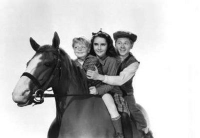 """Photo by: Handout photo<br>The film that made her famous-<br>Elizabeth Taylor and Mickey Rooney are shown in in a scene from 1944's """"National Velvet."""""""