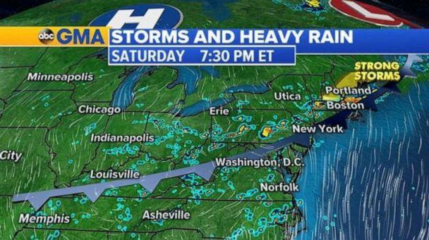 PHOTO: Heavy rain is likely across wide sections of the East Coast, including the Northeast, on Saturday afternoon and evening. (ABC News)