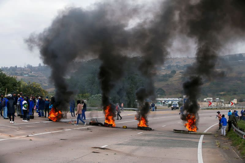 FILE PHOTO: Supporters of former South African President Jacob Zuma attend a protest in Peacevale