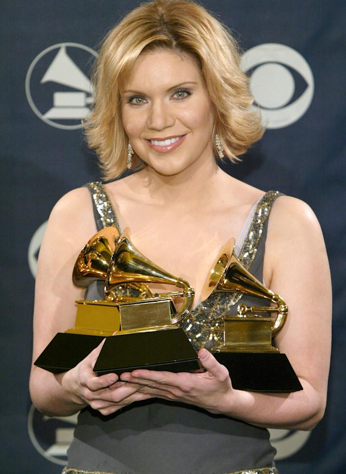 Alison Krauss, winner for Best Country Collaboration with Vocals, Best Country Instrumental Performance and Best Bluegrass Album (Photo by Chris Polk/FilmMagic)
