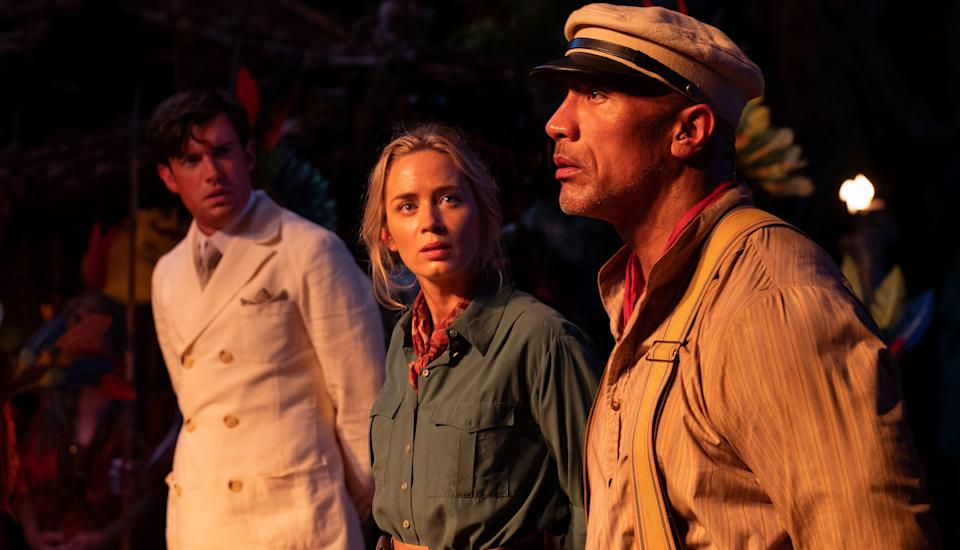 (L-R): Jack Whitehall as Macgregor, Emily Blunt as Lily and Dwayne Johnson as Frank in Disney's 'Jungle Cruise' - Credit: Disney