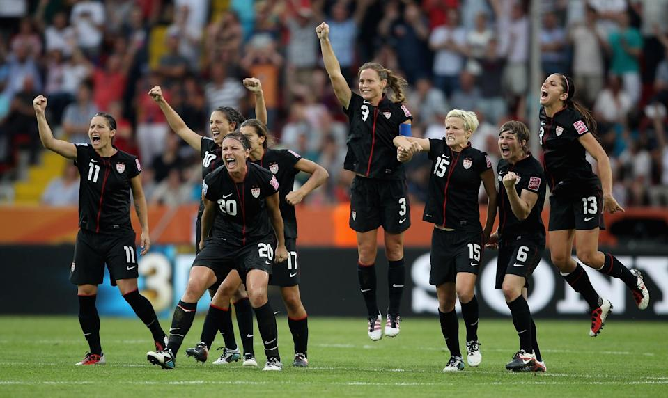 """<p>After the sky-high successes of the '90s, US women's soccer saw a drop in wins, barely qualifying for the World Cup in 2011, but in the quarterfinal match for the tournament, against Brazil, the tide finally turned. <a href=""""https://www.nytimes.com/2011/07/11/sports/soccer/2011-womens-world-cup-us-ousts-brazil-on-penalty-kicks.html"""" class=""""link rapid-noclick-resp"""" rel=""""nofollow noopener"""" target=""""_blank"""" data-ylk=""""slk:Abby Wambach scored a goal in extra time"""">Abby Wambach scored a goal in extra time</a> that sent the US through to the next round, later securing them a silver-medal finish that revitalized American women's soccer.</p> <p>Related: <a href=""""https://www.popsugar.com/fitness/Soccer-Player-Rose-Lavelle-Calming-Breath-Exercise-46095005?utm_medium=partner_feed&utm_source=yahoo_publisher&utm_campaign=related%20link"""" rel=""""nofollow noopener"""" target=""""_blank"""" data-ylk=""""slk:A Pro Athlete Does This One Thing to Calm Her Nerves, and You Can, Too"""" class=""""link rapid-noclick-resp"""">A Pro Athlete Does This One Thing to Calm Her Nerves, and You Can, Too</a></p>"""