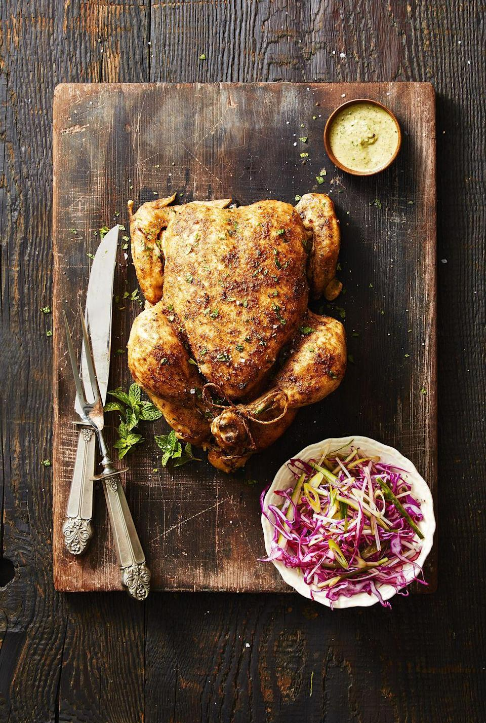 """<p>Skip the supermarket rotisserie chicken for this fool-proof entrée instead. A cabbage-kohlrabi slaw — tossed with cucumber, parsley, onions and lemon juice — on the side sneaks in additional veggies.</p><p><em><a href=""""https://www.goodhousekeeping.com/food-recipes/a42374/crock-pot-chicken-walnut-herb-recipe/"""" rel=""""nofollow noopener"""" target=""""_blank"""" data-ylk=""""slk:Get the recipe for Crock-Pot Chicken With Walnut-Herb Sauce »"""" class=""""link rapid-noclick-resp"""">Get the recipe for Crock-Pot Chicken With Walnut-Herb Sauce »</a></em></p><p><strong>RELATED:</strong> <a href=""""https://www.goodhousekeeping.com/food-recipes/easy/g755/chicken-breast-recipes/"""" rel=""""nofollow noopener"""" target=""""_blank"""" data-ylk=""""slk:60+ Chicken Recipes That Are Anything But Boring"""" class=""""link rapid-noclick-resp"""">60+ Chicken Recipes That Are Anything But Boring</a><br></p>"""