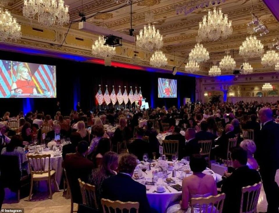 A TurningPoint USA ball at Donald Trump's Mar-a-Lago resort in Florida, where attendees - mostly mask-less - gathered at 10 person tables to hear conservative personalities speak.Instagram