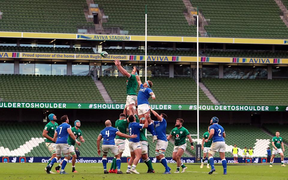 Ireland and Italy played out their Six Nations return in front of empty stands - PA