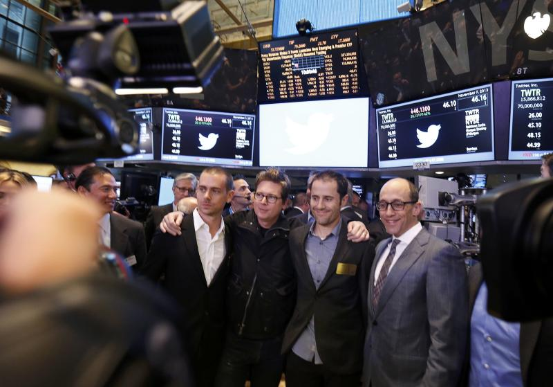 Twitter CEO Costolo celebrates the Twitter IPO with Twitter founders Dorsey, Stone and Williams on the floor of the New York Stock Exchange in New York
