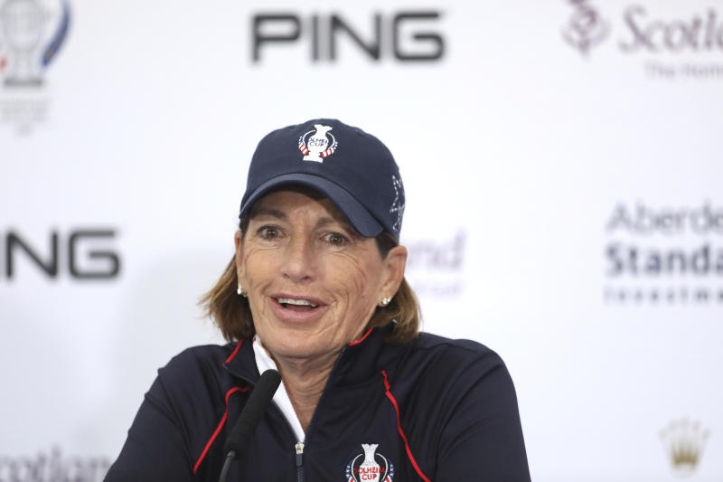 US Solheim Cup team captain Juli Inkster during a press conference at Gleneagles, Auchterarder, Scotland, Tuesday, Sept. 10, 2019. The Solheim cup runs from 13-15 Sept. (AP Photo/Peter Morrison)