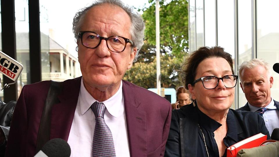 Geoffrey Rush and his wife Jane Menelaus leave the Federal Court