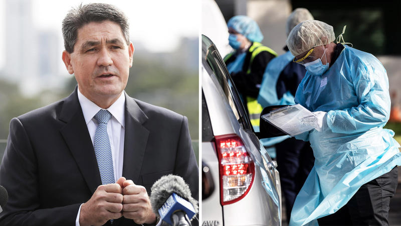 New South Wales Sports Minister Geoff Lee (pictured left) and tests are carried out at a pop-up COVID-19 testing clinic at Victoria Park in Picton, Sydney (pictured right). (Getty Images)