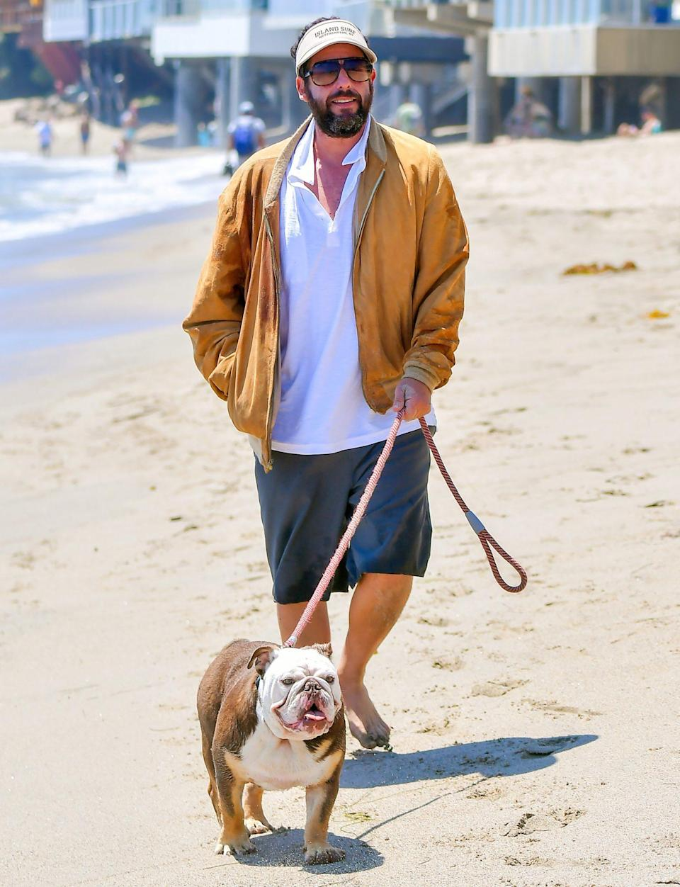 <p>Adam Sandler takes a walk with his dog on the beach on Sunday in Malibu. </p>