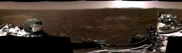 PHOTO: This NASA photo released, Feb. 22, 2021, shows a panorama, taken on Feb. 20, 2021, by the Navigation Cameras, or Navcams, aboard NASAs Perseverance Mars rover, stitched together from six individual images after they were sent back to Earth. (NASA/AFP via Getty Images)