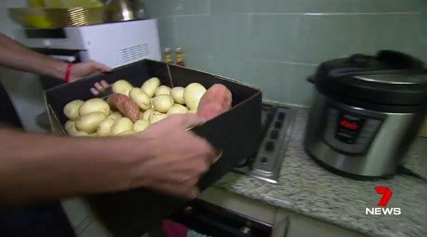 A Melbourne man who vowed to eat only potatoes for a year has almost completed his bizarre challenge and lost 50 kilos. Picture: 7 News