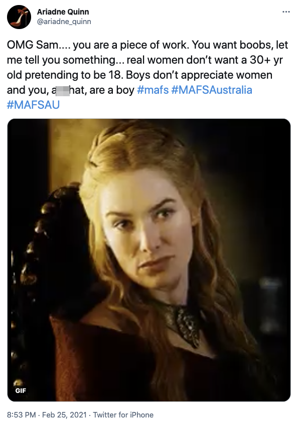 Some Twitter users poked fun at Sam, calling him a boy, not a man, over his comments. Photo: Twitter
