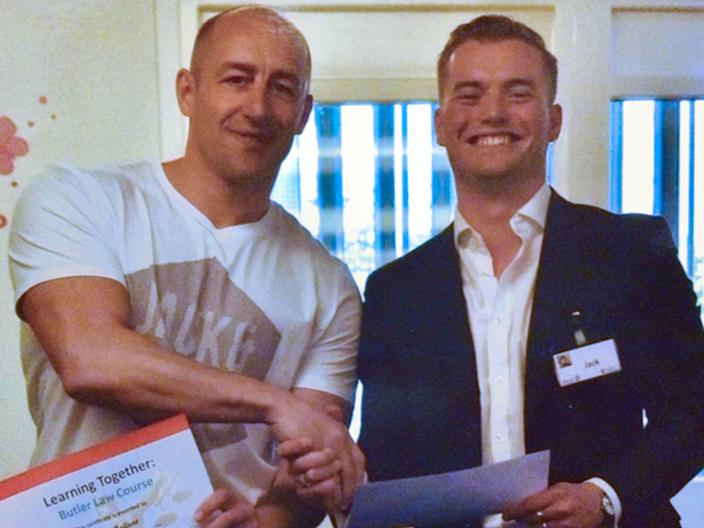 Steve Gallant with Jack Merritt, who died in the London Bridge attack, pictured at the end of a Learning Together prison rehabilitation training course in April 2018 (PA)