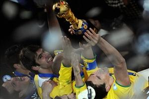 Brazilian players celebrate with the trophy after the FIFA Confederations Cup final football match against the United States on June 28 in Johannesburg. Photograph: AFP
