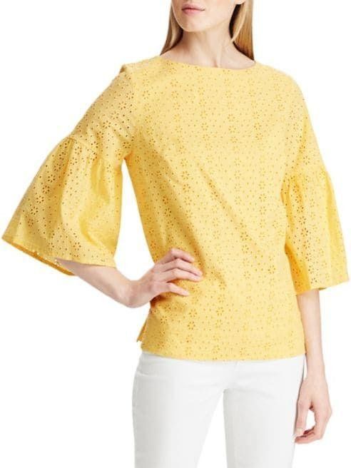 Eyelet Bell-Sleeve Cotton Top