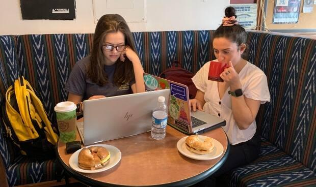 Meredith Billiter, left, and Melissa Mammoliti, right, are students at the Atlantic Veterinary College and enjoy studying at Timothy's World Coffee in Charlottetown.