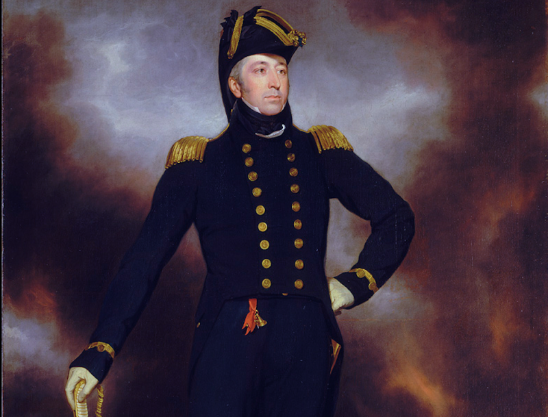 A portrait by John James Halls of Admiral Cockburn stood in front of a burning WashingtonWikimedia Commons/Royal Museums Greenwich