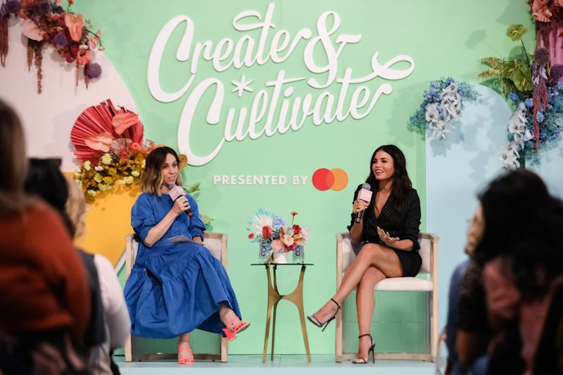 SAN FRANCISCO, CALIFORNIA - SEPTEMBER 21: Jaclyn Johnson, CEO & Founder of Create & Cultivate (L) and Jenna Dewan (R) speak onstage the Create & Cultivate Conference at SVN West on September 21, 2019 in San Francisco, California. (Photo by Kelly Sullivan/Getty Images)