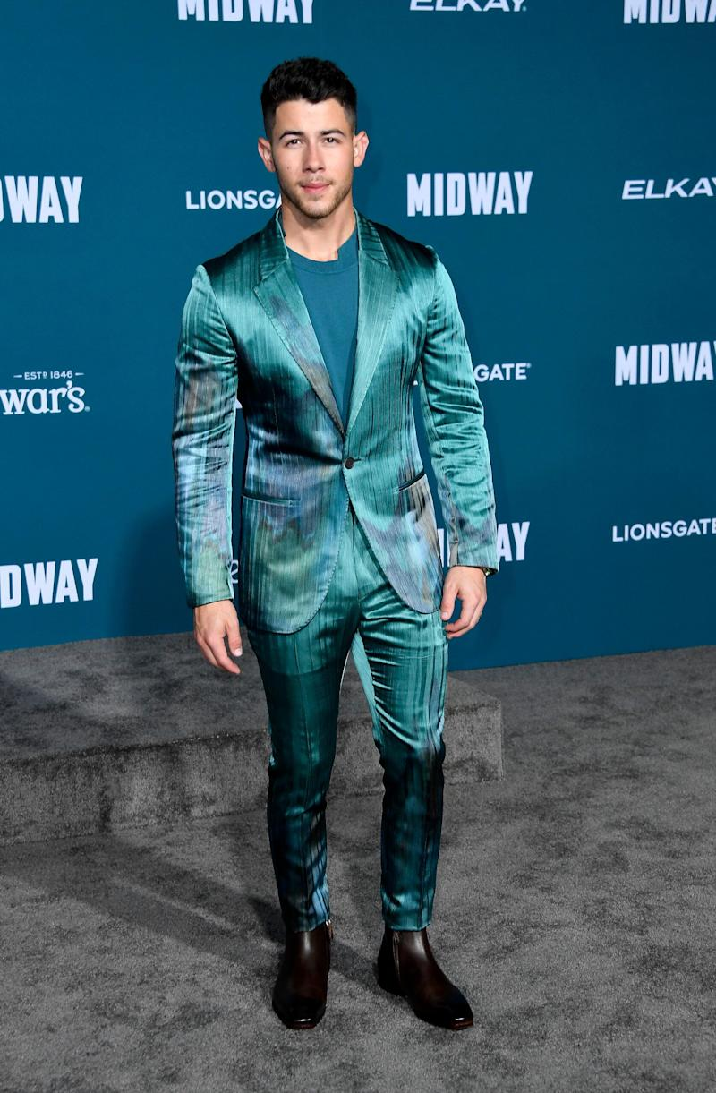 """Nick Jonas at the premiere of """"Midway"""" in Westwood, California, on Nov. 5."""