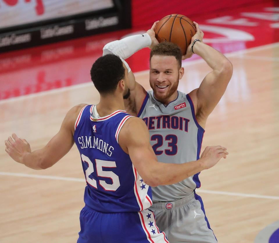 Detroit Pistons forward Blake Griffin controls the ball against Philadelphia 76ers guard Ben Simmons during the first half Monday, Jan. 25, 2021, at Little Caesars Arena.