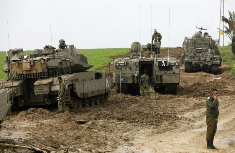 Israeli soldiers patrol the border with Gaza on February 18, 2018