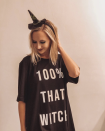 """<p>This cheeky, cool graphic costume comes together in a flash. Just grab an oversized black shirt and add iron-on letters. Finish the look with a witch hat headband. </p><p><a class=""""link rapid-noclick-resp"""" href=""""https://www.amazon.com/Hanes-Womens-Around-Nightshirt-Black/dp/B008FV742I/?tag=syn-yahoo-20&ascsubtag=%5Bartid%7C10072.g.33534666%5Bsrc%7Cyahoo-us"""" rel=""""nofollow noopener"""" target=""""_blank"""" data-ylk=""""slk:SHOP OVERSIZED SHIRT"""">SHOP OVERSIZED SHIRT</a></p><p><a class=""""link rapid-noclick-resp"""" href=""""https://www.amazon.com/Alphabet-Applique-Appliques-Embroidered-Decorate/dp/B081JSTPJ4?tag=syn-yahoo-20&ascsubtag=%5Bartid%7C10072.g.33534666%5Bsrc%7Cyahoo-us"""" rel=""""nofollow noopener"""" target=""""_blank"""" data-ylk=""""slk:SHOP IRON-ON LETTERS"""">SHOP IRON-ON LETTERS</a></p><p><a class=""""link rapid-noclick-resp"""" href=""""https://www.amazon.com/HLHXMWXY-Halloween-Hairband-Festival-Decoration/dp/B07WDX9DTC?tag=syn-yahoo-20&ascsubtag=%5Bartid%7C10072.g.33534666%5Bsrc%7Cyahoo-us"""" rel=""""nofollow noopener"""" target=""""_blank"""" data-ylk=""""slk:SHOP HEADBAND"""">SHOP HEADBAND</a></p>"""