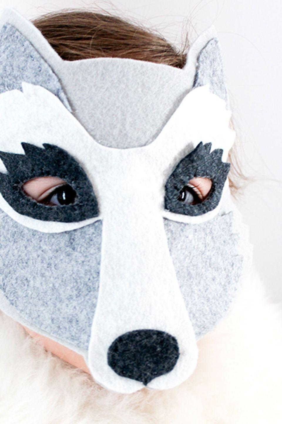 """<p>There's nothing scary about this adorable wolf mask. </p><p><strong>Get the tutorial at <a href=""""http://ohmyhandmade.com/2013/hands/let-them-howl-diy-wolf-mask-tutorial/"""" rel=""""nofollow noopener"""" target=""""_blank"""" data-ylk=""""slk:Oh My Handmade"""" class=""""link rapid-noclick-resp"""">Oh My Handmade</a>. </strong></p><p><a class=""""link rapid-noclick-resp"""" href=""""https://www.amazon.com/Acrylic-Sheets-Fabric-Children-Classes/dp/B076NJM2CM/?tag=syn-yahoo-20&ascsubtag=%5Bartid%7C10050.g.3480%5Bsrc%7Cyahoo-us"""" rel=""""nofollow noopener"""" target=""""_blank"""" data-ylk=""""slk:SHOP WHITE FELT""""><strong>SHOP WHITE FELT</strong> </a></p>"""