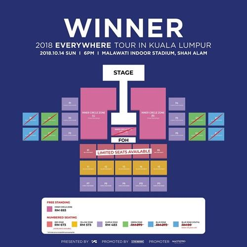 Updated seating plan for WINNER's Sunday concert showing the sold out zones.