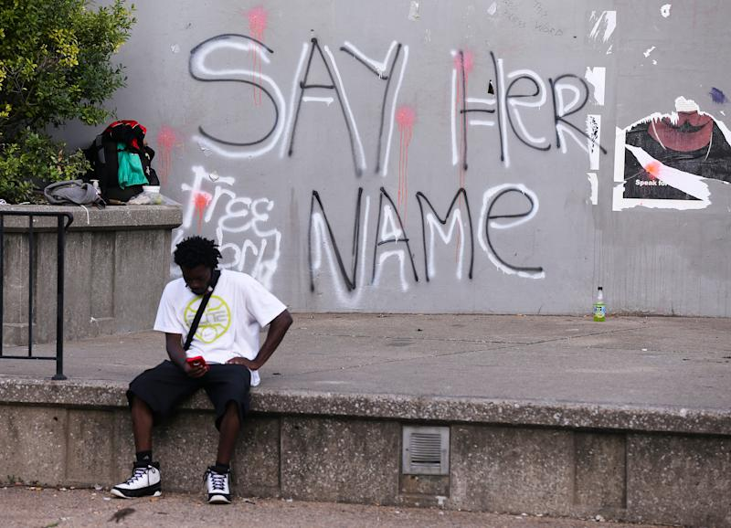 A wall has been spray painted with a slogan to honor Breonna Taylor in Jefferson Square Park on Aug. 5 2020. The slain 26-year-old died at the hands of LMPD as they issued a no-knock warrant at her apartment.