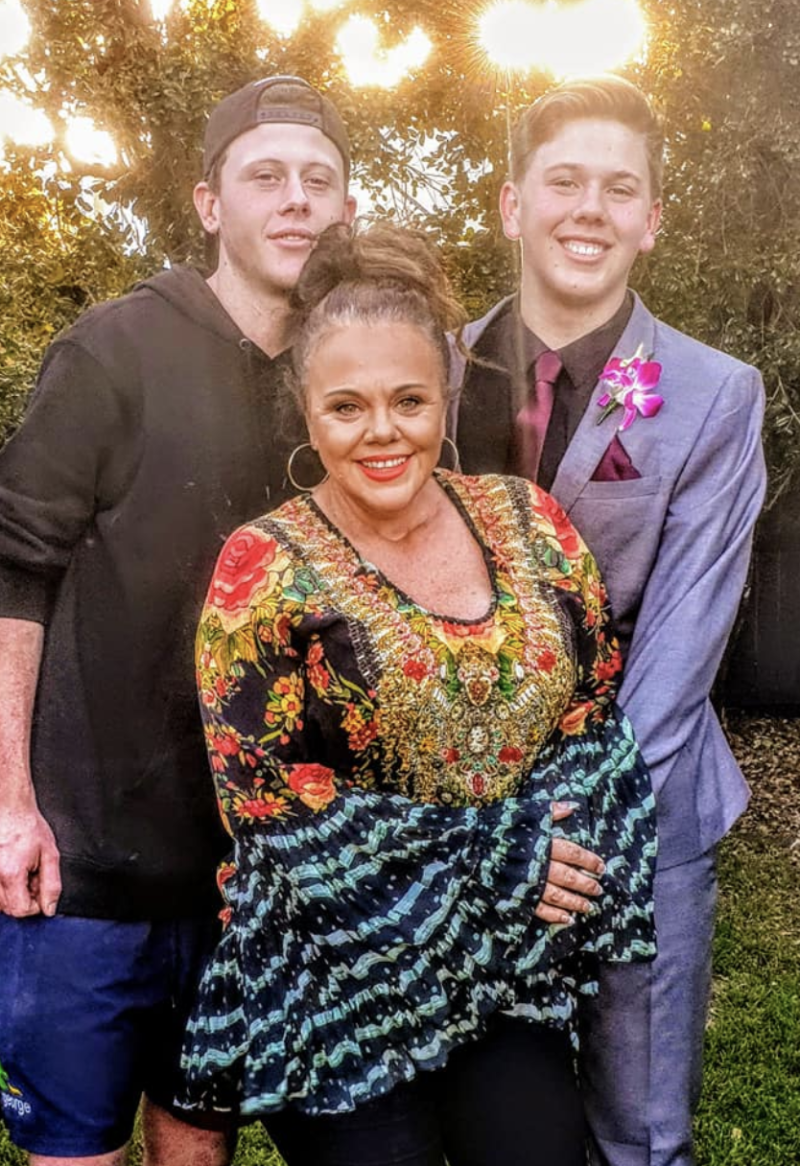 Lisa Wallis is seen standing with her two sons, Lachy (left) and Mitchell (right). Source: Supplied