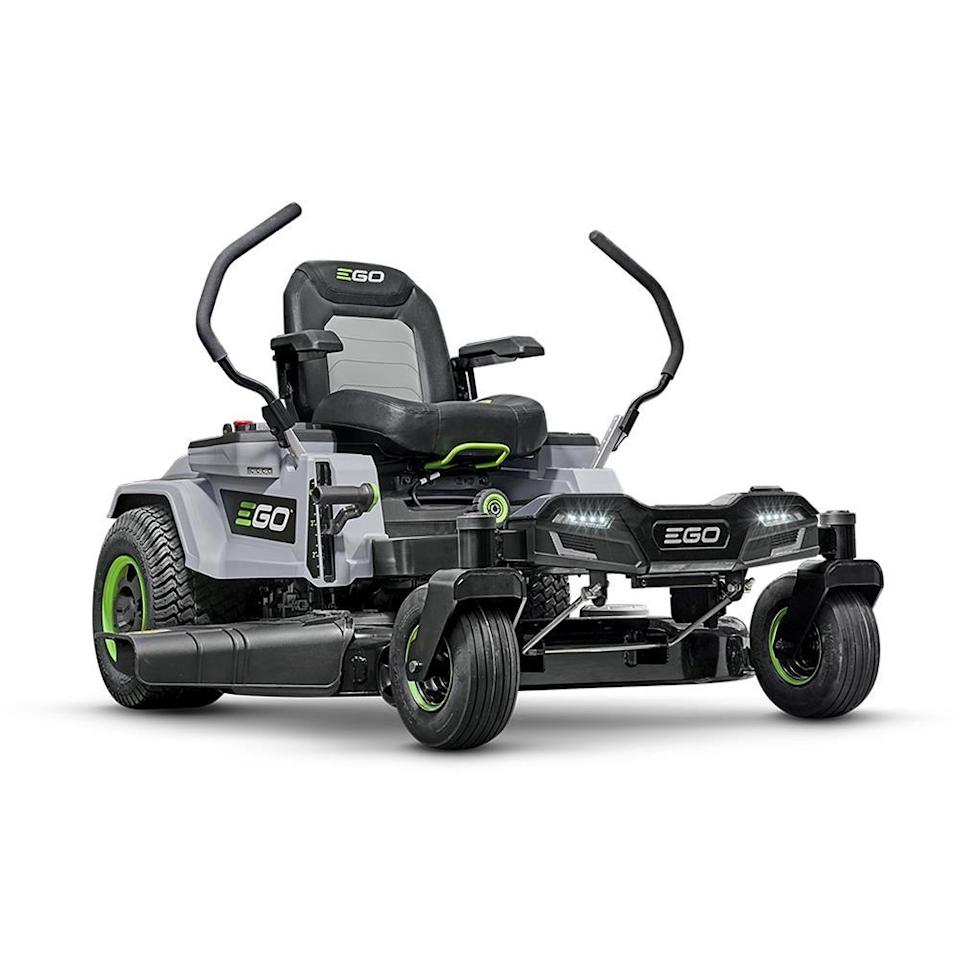 """<p><strong>EGO</strong></p><p>lowes.com</p><p><strong>$4999.00</strong></p><p><a href=""""https://go.redirectingat.com?id=74968X1596630&url=https%3A%2F%2Fwww.lowes.com%2Fpd%2FEGO-Dual-Hydrostatic-42-in-Zero-Turn-Lawn-Mower-with-Mulching-Capability-CARB%2F5000200347&sref=https%3A%2F%2Fwww.countryliving.com%2Fgardening%2Fgarden-ideas%2Fg36728568%2Fbest-riding-lawn-mowers%2F"""" rel=""""nofollow noopener"""" target=""""_blank"""" data-ylk=""""slk:Shop Now"""" class=""""link rapid-noclick-resp"""">Shop Now</a></p><p>If you're looking for a riding lawn mower and price is no object, you can spend more elsewhere, but you probably can't spend it better. This battery-powered zero-turn mower has it all: Its six batteries deliver the performance of a gas engine—cutting up to two acres—with the low maintenance and ease of an electric mower. It handles hills with ease, has an incredibly comfortable seat, and reaches speeds of 7mph while cutting. But what reviewers seem to love most is how fun it is to use.</p>"""
