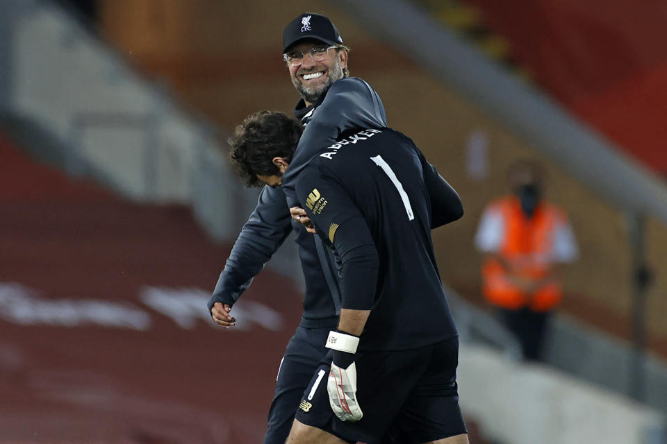 The end of Liverpool's title drought is uniquely befitting of its protagonist. (Photo by PHIL NOBLE/POOL/AFP via Getty Images)
