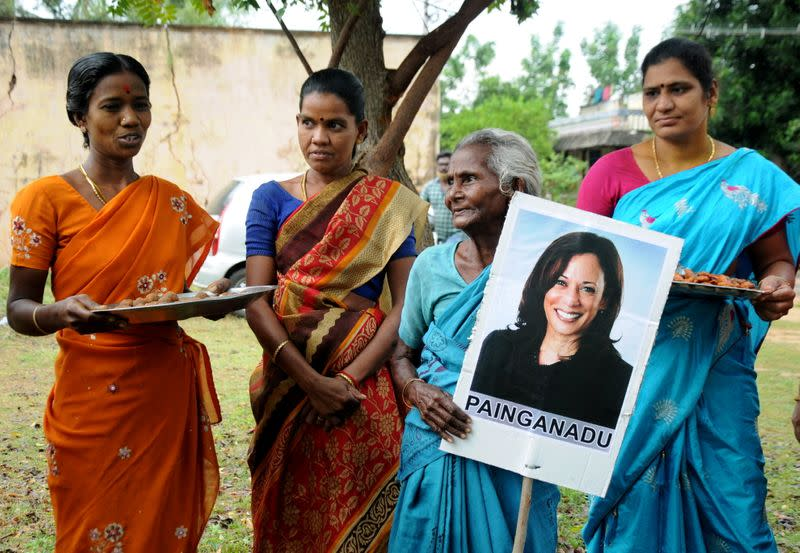 Villagers celebrate victory of U.S. Vice President-elect Kamala Harris in Painganadu