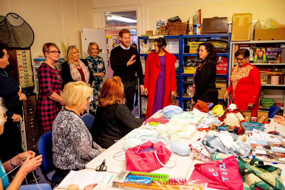 BIRKENHEAD, ENGLAND - JANUARY 14: Prince Harry, Duke of Sussex and Meghan, Duchess of Sussex visit 'Tomorrow's Women Wirral' Charity on January 14, 2019 in Birkenhead, United Kingdom. (Photo by Charlotte Graham - WPA Pool/Getty Images)