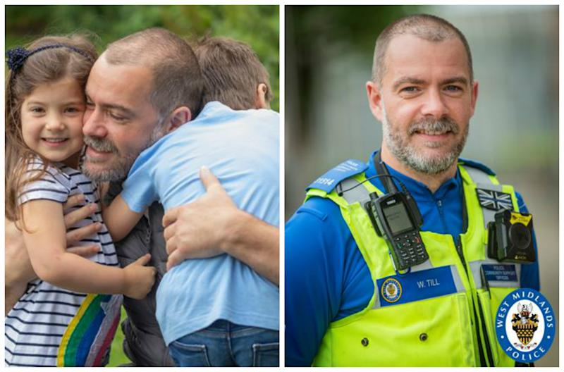 Undated handout photo issued by West Midlands Police of William Till, a police community support officer, who has been reunited with his family after he left home for three months during lockdown because his son was shielding.