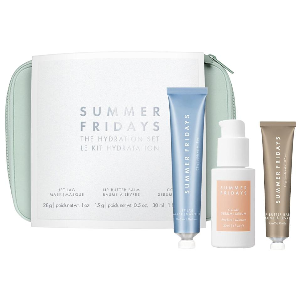 "<h3>Summer Fridays The Hydration Set</h3><br>We may have put travel plans on hold for the time being, but that doesn't mean you shouldn't treat your skin to Summer Fridays' hydrating Jet Lag Mask, vitamin C serum, and lip mask.<br><br><strong>Summer Fridays</strong> The Hydration Set, $, available at <a href=""https://go.skimresources.com/?id=30283X879131&url=https%3A%2F%2Ffave.co%2F3m8Qglr"" rel=""nofollow noopener"" target=""_blank"" data-ylk=""slk:Sephora"" class=""link rapid-noclick-resp"">Sephora</a>"