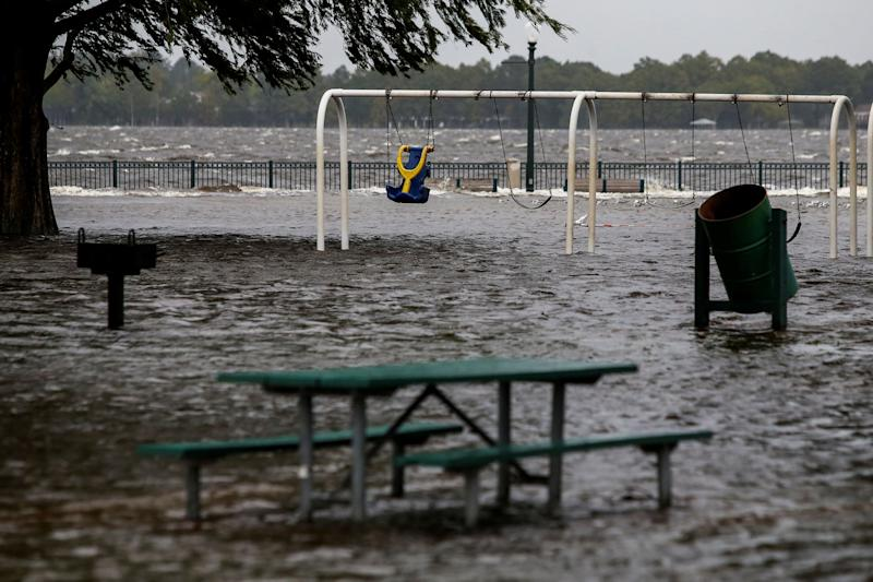 The flooded Union Point Park Complex in New Bern on Thursday.