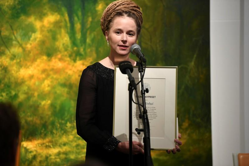 Swedish Culture and Democracy Minister Amanda Lind presents Svenska PEN's Tucholsky Prize to detained Swedish bookseller Gui Minhai in Stockholm