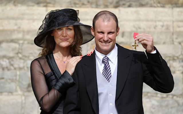 Andrew Strauss wife late wife Ruth, after receiving his OBE in 2011. AFP PHOTO / LEWIS WHYLD / WPA POOL (Photo credit should read LEWIS WHYLD/AFP/Getty Images)
