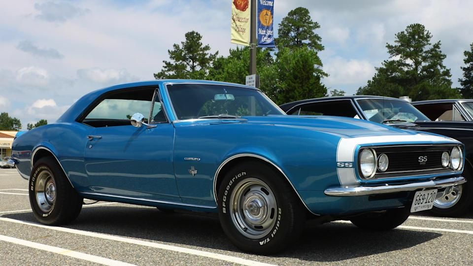 GLOUCESTER, VIRGINIA - JULY 12, 2014: A Blue 1967 Chevrolet Camaro SS350 in the Blast from the PAST CAR SHOW,The Blast From the Past car show is held once each year in July in Gloucester Virginia.