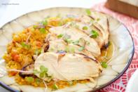 """<p>Bet you've never had sweet potato rice before. And any kind of """"rice"""" on Passover still feels revolutionary.</p><p>Get the recipe from <a href=""""http://livingsweetmoments.com/honey-lime-chicken/"""" rel=""""nofollow noopener"""" target=""""_blank"""" data-ylk=""""slk:Living Sweet Moments"""" class=""""link rapid-noclick-resp"""">Living Sweet Moments</a>.</p>"""