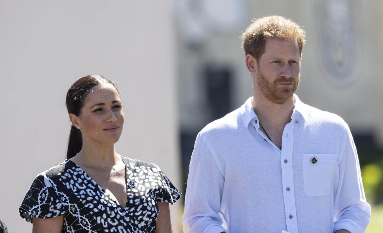 """January 20th 2020 - Buckingham Palace has announced that Prince Harry and Duchess Meghan will no longer use """"royal highness"""" titles and will not receive public money for their royal duties. Additionally, as part of the terms of surrendering their royal responsibilities, Harry and Meghan will repay the $3.1 million cost of taxpayers' money that was spent renovating Frogmore Cottage - their home near Windsor Castle. - January 9th 2020 - Prince Harry The Duke of Sussex and Duchess Meghan of Sussex intend to step back their duties and responsibilities as senior members of the British Royal Family. - File Photo by: zz/KGC-178/STAR MAX/IPx 2019 9/23/19 Prince Harry The Duke of Sussex and Meghan The Duchess of Sussex visit Cape Town, South Africa."""