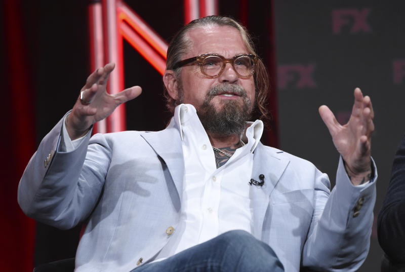 "Kurt Sutter, the co-creator, executive producer and writer of the FX series ""Mayans M.C.,"" takes part in a panel discussion during the 2019 Television Critics Association Summer Press Tour, Tuesday, Aug. 6, 2019, in Beverly Hills, Calif. (Photo by Chris Pizzello/Invision/AP)"