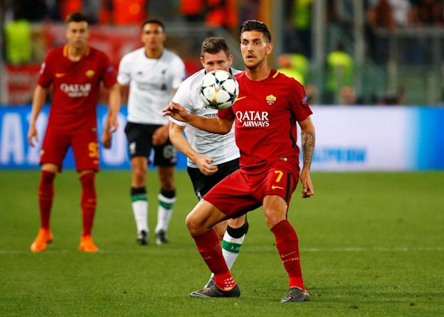 Soccer Football - Champions League Semi Final Second Leg - AS Roma v Liverpool - Stadio Olimpico, Rome, Italy - May 2, 2018 Roma's Lorenzo Pellegrini in action with Liverpool's James Milner REUTERS/Tony Gentile